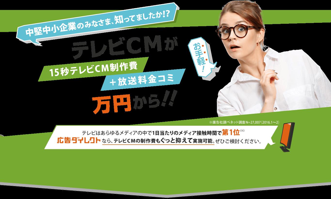 中堅中小企業のみなさま、知ってましたか!? テレビCMが 15秒テレビCM制作費 +放送料金コミ 30万円から!! テレビはあらゆるメディアの中で1日当たりのメディア接触時間で第1位(※) 広告ダイレクト なら、テレビCMの制作費もぐっと抑えて実施可能。 ぜひご検討ください。