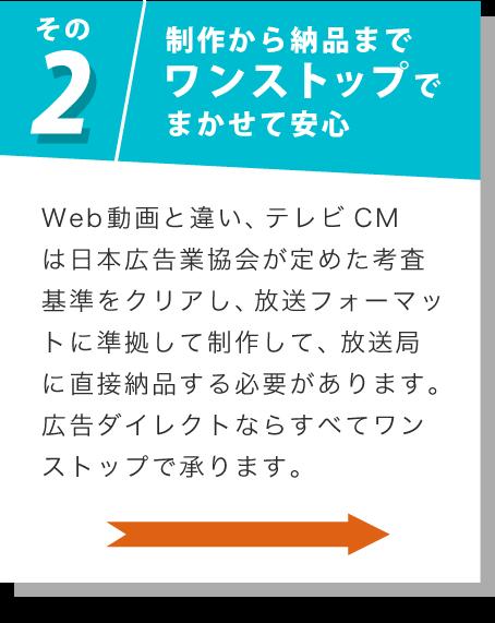 その2 制作から納品までワンストップでまかせて安心 Web動画と違い、テレビCMは日本広告業協会が定めた考査基準をクリアし、放送フォーマットに準拠して制作して、放送局に直接納品する必要があります。広告ダイレクトならすべてワンストップで承ります。