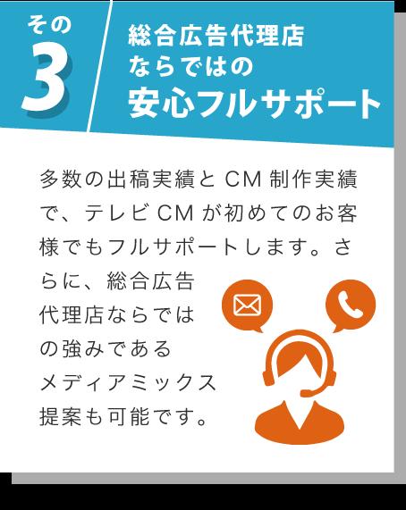 その3 総合広告代理店ならではの安心フルサポート 多数の出稿実績とCM制作実績で、テレビCMが初めてのお客様でもフルサポートします。さらに、総合広告代理店ならではの強みであるメディアミックス提案も可能です。